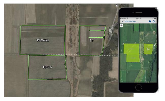 Cartographie d'exploitation agricole de Trimble Ag